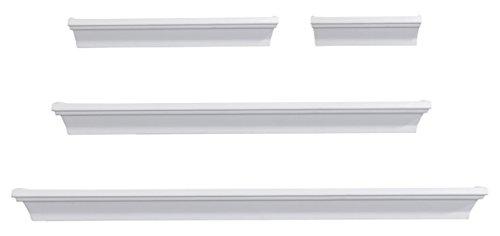 Melannco 5091215 Floating Wall Mount Molding Ledge Shelves, Set of 4, White