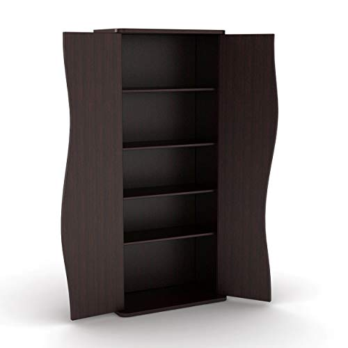 Atlantic Venus Media Storage Cabinet - Stylish Multimedia Storage Cabinet Holds 198 CDs, 88 DVDs or 108 Blu-Rays, 4 Adjustable and 2 Fixed Shelves PN83035729 in Espresso