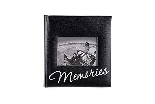 Malden International Designs Memories Cursive 2-Up With Memo Space Photo Album, 160-4x6, Black
