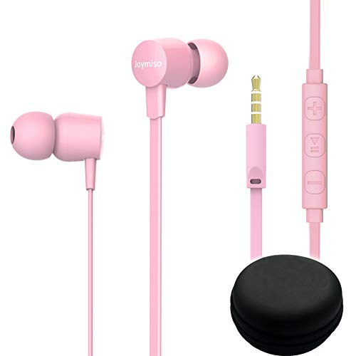 Joymiso Tangle Free Earbuds for Kids Women Small Ears with Case, Comfortable Lightweight in Ear Headphones, Flat Cable Ear Buds Wired Earphones with Mic and Volume Control for Cell Phone Laptop (Pink)
