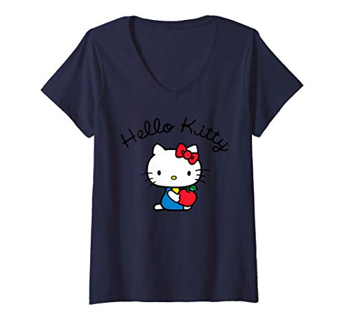 Womens Hello Kitty Retro Logo V-Neck T-Shirt