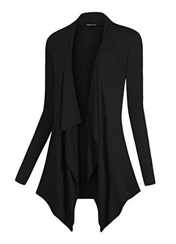 Urban CoCo Women's Drape Front Open Cardigan Long Sleeve Irregular Hem (XL, Black)