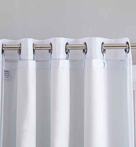 HLC.ME White Thermal Insulated 100% Blackout Curtain Liner 95-96 inch Grommet Panels - Complete Darkness & Privacy, Energy Efficient, Noise Reducing - 16 Rings Included (2 Panels, 50 W x 92 L inch)