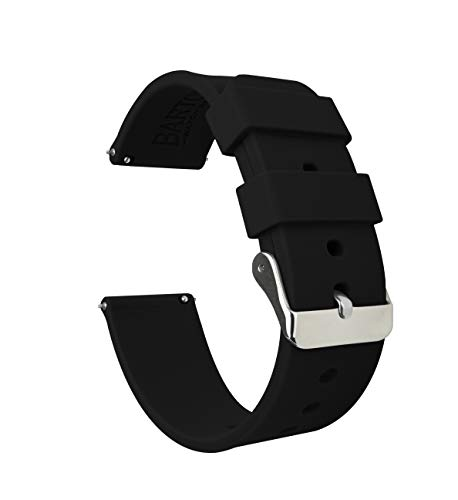 20mm Black - BARTON Watch Bands - Soft Silicone Quick Release Straps