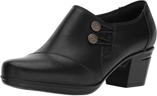 Clarks Women's Emslie Warren Slip-on Loafer,Black Leather,7.5 W US