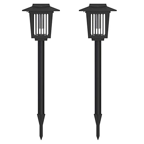 2Pcs Solar Bug Zapper LED Mosquito Killer Light Insect Pest Killer Lamp for Indoor Outdoor Use