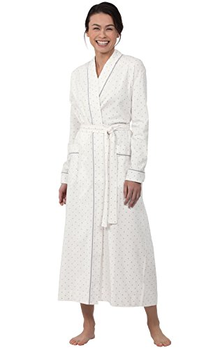PajamaGram Classic Women's Robes Long - Polka Dot Ladies Robe, Cream, M 8-10