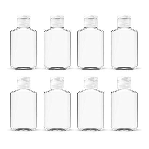 Clear Plastic Refillable Flip-Top Bottles for Hand Sanitizer Shampoo Lotion,etc - BPA/Parabens Free, 60ml/2oz-Set of 8