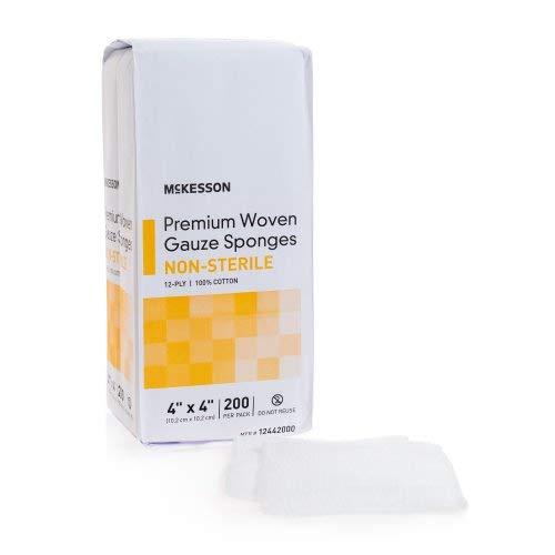 McKesson Woven Gauze Sponges 12-Ply 4'x4' - 200 ct