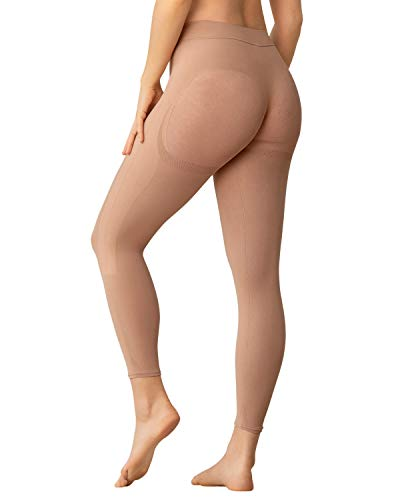 Leonisa Invisible postsurgical Legs and Butt Footless Compression Shaper Capri for Women - Waist to Thigh Shapewear Beige