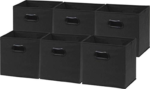6 Pack - SimpleHouseware Foldable Cube Storage Bin with Handle, Black