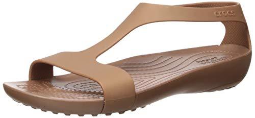 Crocs womens Serena | Cute for Women Slip on Shoes Flat Sandal, Bronze, 9 US