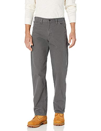 Dickies Men's Relaxed Fit Straight-Leg Duck Carpenter Jean, Slate, 34W x 30L