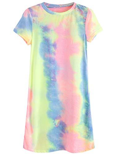 Romwe Women's Summer Casual Short Sleeve Tunic Dress Tie Dye T-Shirt Dress Multicolor L