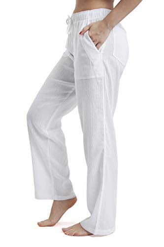 J & Ce Women's Gauze Cotton Beach Pants with Pockets (White, XS)