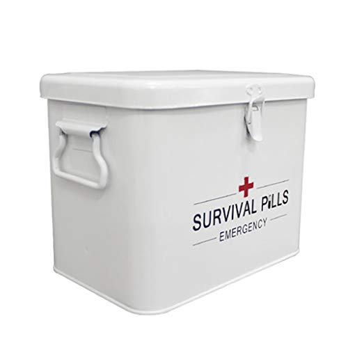 Medicine Storage Box Lockable, Metal First Aid Box with Side Handles, Top Removable Tray Key Box for Pills, Prescription Drugs Children Storage Box - White