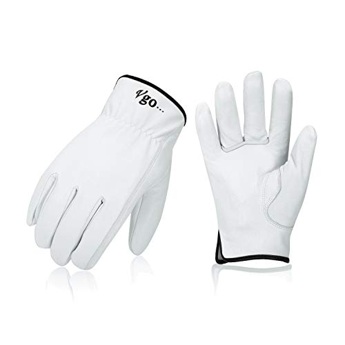 Vgo 3-Pairs Unlined Top Grain Goatskin Work and Driver Gloves (Size L, White, GA9501)