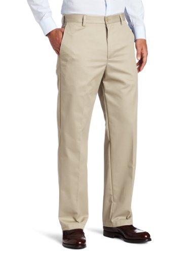 IZOD Men's American Chino Flat Front Straight Fit Pant, Khaki, 33W x 32L