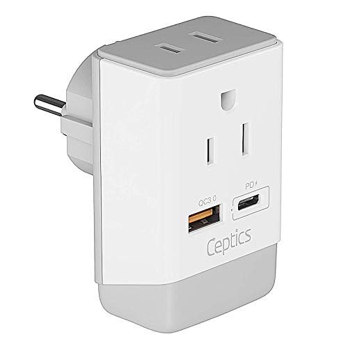 Israel Power Adapter, QC 3.0 & PD by Ceptics, Safe Dual USB & USB-C - 2 USA Socket Compact & Powerful - Use in Jerusalem, Holy Land, Palestine, Gaza Strip - Type I AP-14- Fast Charging
