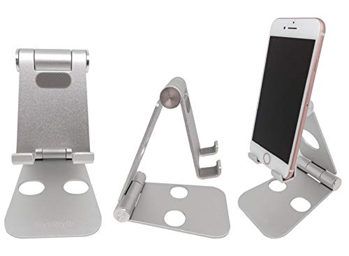 Cell Phone Stand for Desk - Eyslhylb Adjustable Cell Phone Stand - Fully Foldable, Portable Aluminum Desktop Cell Phone Holder for All iPhone iPad, Samsung, Ebook Reader, Silver