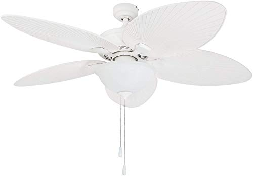 Prominence Home 80017-01 Palm Valley Tropical Ceiling Fan with Palm Leaf Blades, Indoor/Outdoor, 52 inches, White
