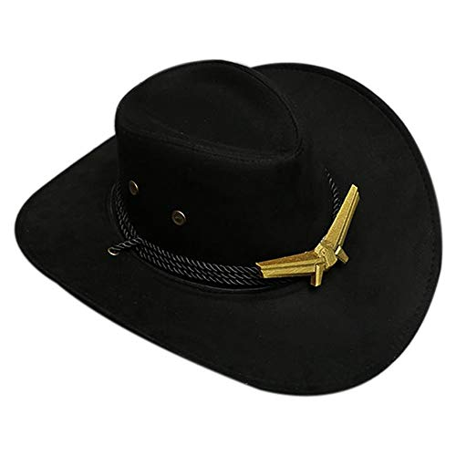 OW Ashe Cosplay Cowboy Hat - Wide Brim Western Gangster Hat Suede Fabric Cap with Strap,Game Anime Costume Accessories