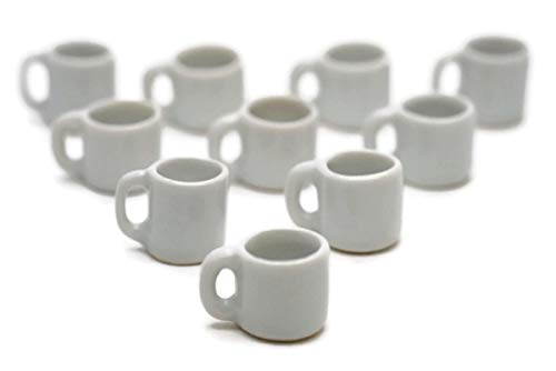10 White Gray Coffee Mug Tea Cup Appro Size 1.2 Cm Dollhouse Miniatures Food Kitchen by Cool Price