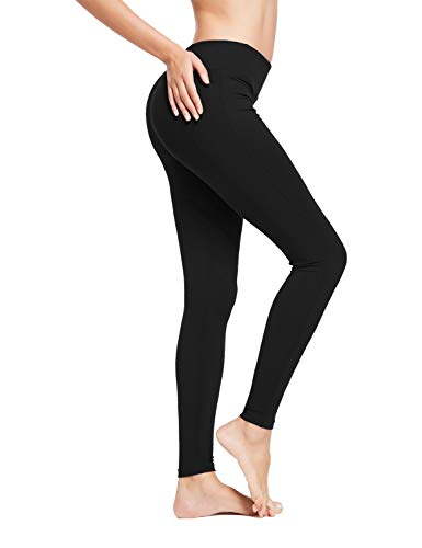 BALEAF Women's Ankle Legging Athletic Yoga Hiking Workout Running Pants Inner Pocket Non See-Through Black Size M