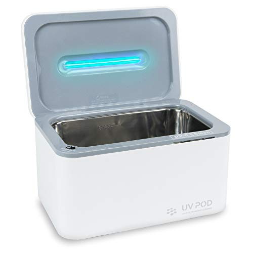 Ultrasonic Cleaner & UV Light Sanitizer, Professional Jewelry Cleaner Machine for Rings, Watches, Earrings, Baby Pacifier, Eyeglasses, Dentures (White)