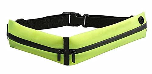 F-ber Running Belt Waist Pack, Pocket Outdoor Sweatproof Water-Resistant Reflective Waist Bag Runners Belt, Fitness Workout Belt, iPhone X 6 7 8 for Men and Women (Green w/ Earphone Port)