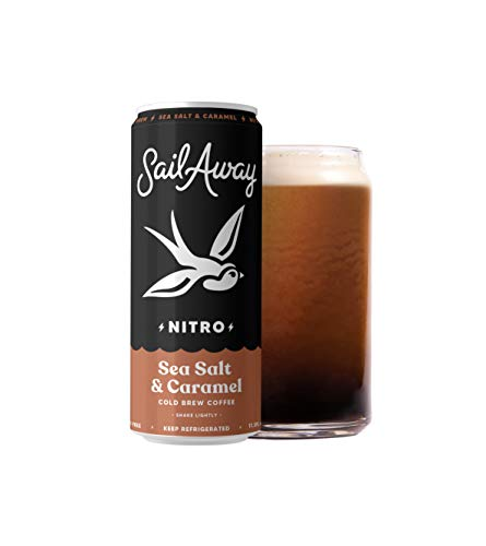 Sail Away Coffee Co. | Sea Salt & Caramel Nitro Cold Brew Coffee | Low Sugar, Gluten Free & Non-Dairy | Organic | Draft Nitrogen Pour, Clean Energy, Low Acidity | 11.5oz (12 pack)