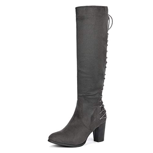 DREAM PAIRS Women's MIDLACE Grey Over The Knee High Boots Size 10 B(M) US