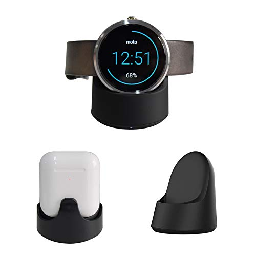 360 Watch Charger,Geyes Wireless Charging Cradle for Motorola Watch Moto 360 1st gen,Moto 360 2nd gen,Airpods 2nd gen and Arpods Pro (AC Adapter not Included) -Black