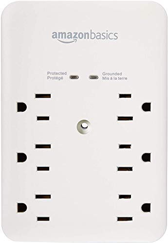 AmazonBasics 6 Outlet, Wall Mount Surge Protector, Power Strip, 2 USB ports 3.4A, 1080 Joules