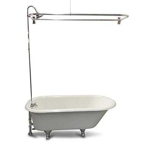 "My PlumbingStuff RX2300J JUMBO Clawfoot Tub Add-a-Shower - 60"" D-Style Shower Rod with Shower Rings - JUMBO Chrome-Bell Showerhead - B3100 Ball-Valve Technology - 12 Shower-Curtain Rings"