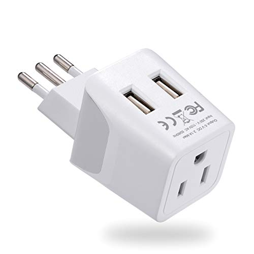 Italy, Chile, Uruguay Travel Adapter Plug by Ceptics With Dual USB - USA Input - Type L - Ultra Compact - Perfect for Cell Phones, Laptop, Camera Chargers, iWatch, iPad, iPhone and More (CTU-12A)