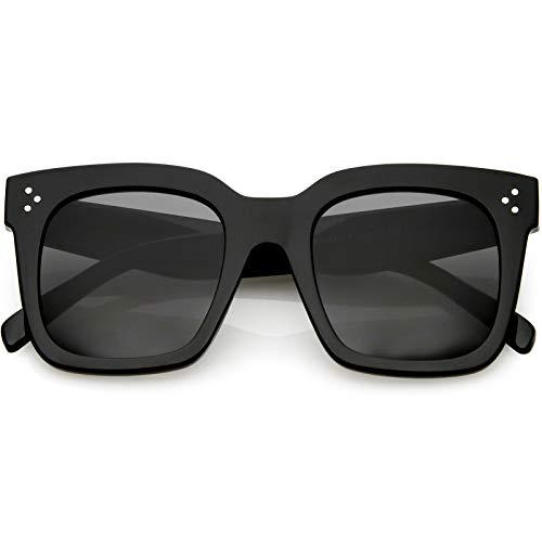 zeroUV - Bold Flat Lens Oversized Square Frame Horn Rimmed Sunglasses 50mm (Shiny Black/Smoke)
