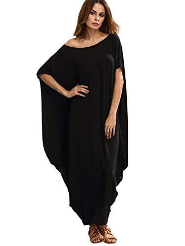Verdusa Women's One Off Shoulder Caftan Sleeve Harem Maxi Dress Black XL