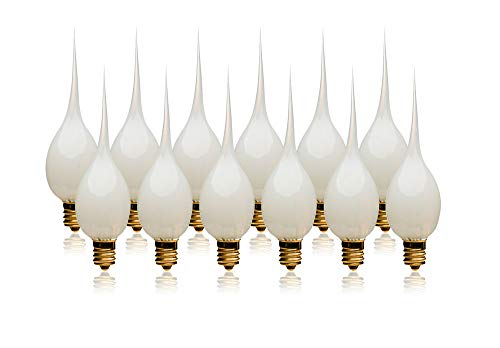 LightLady Studio, Silicone Dipped Candle Light Bulbs, 7 Watts, Pack of 12, Replacement Bulb for Window Candles