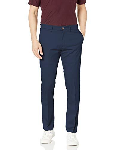 Haggar Men's Premium No Iron Khaki Slim Fit Flat Front Casual Pant, Dark Navy, 32Wx29L