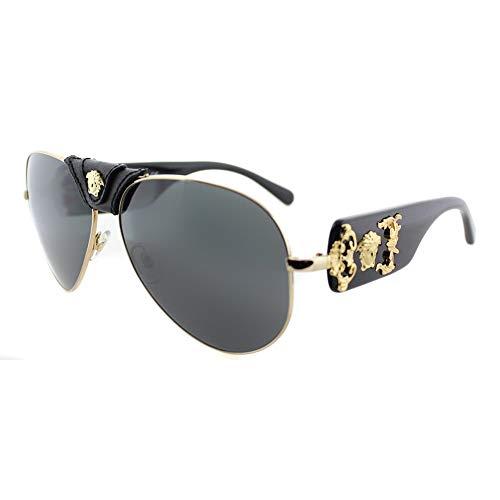 Versace VE2150Q - 100287 Gold/Black Aviator Sunglasses 62mm