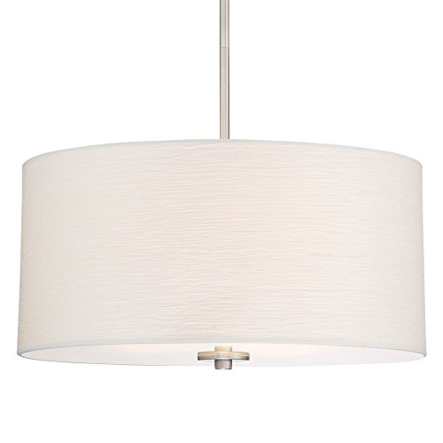 Kira Home Pearl 18' Modern 3-Light Large Drum Pendant Chandelier, White Textured Shade + Glass Diffuser, Adjustable Height, LED Compatible, Brushed Nickel Finish