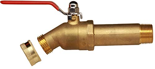 House Mods HMP011 Brass 3/4' MIP Water Heater Replacement Drain valve(Full Port, Ball Valve, 3 inch Shank, W/Garden Hose Cap)