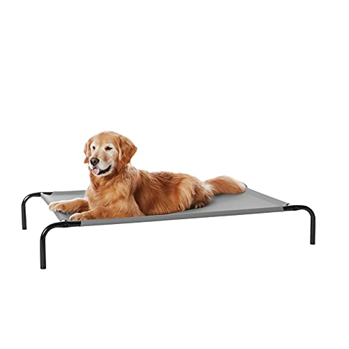 Amazon Basics Cooling Elevated Pet Bed, Large (51 x 31 x 8 Inches), Grey