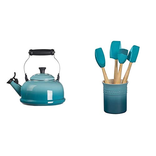 Le Creuset Enamel On Steel Whistling Tea Kettle, 1.7 qt, Caribbean & Silicone Craft Series Utensil Set with Stoneware Crock, 5 pc, Caribbean