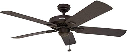 Honeywell Belmar 52-Inch Indoor/Outdoor Ceiling Fan, Five Damp Rated Fan Blades, Bronze