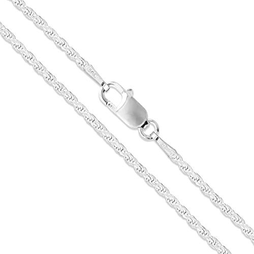 Sterling Silver Diamond-Cut Rope Chain 1.7mm Solid 925 New Necklace 24'