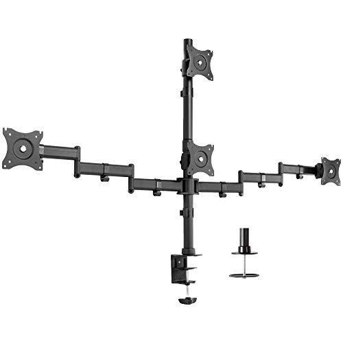 VIVO Quad LCD Monitor Heavy Duty Desk Mount 3 Plus 1 Stand, Holds 4 Screens up to 24 inches (STAND-V004Y)