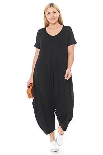 Pastel by Vivienne Women's Short Sleeve Harem Jumpsuit Plus Size XX-Large Black