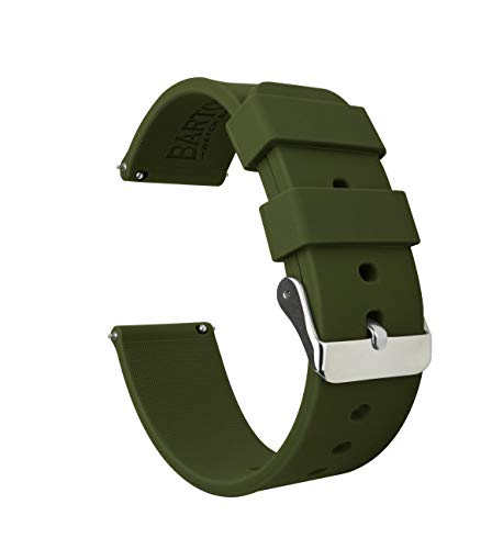 22mm Army Green - BARTON Watch Bands - Soft Silicone Quick Release Straps